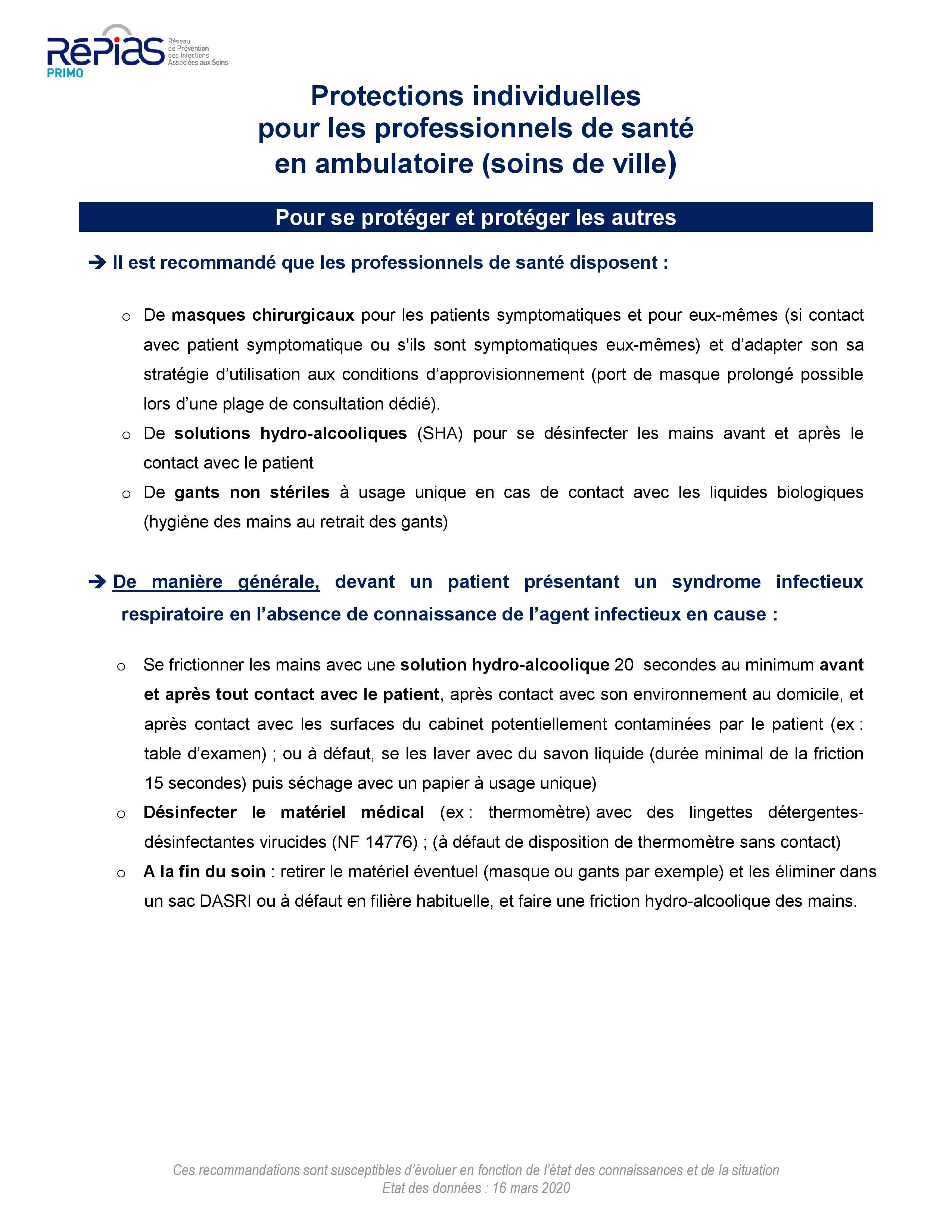 COVID 19 - PROTECTIONS INDIVIDUELLES